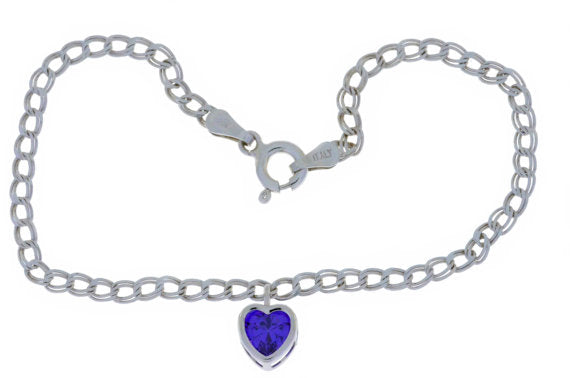 1 Ct Amethyst Heart Bezel Bracelet .925 Sterling Silver Rhodium Finish