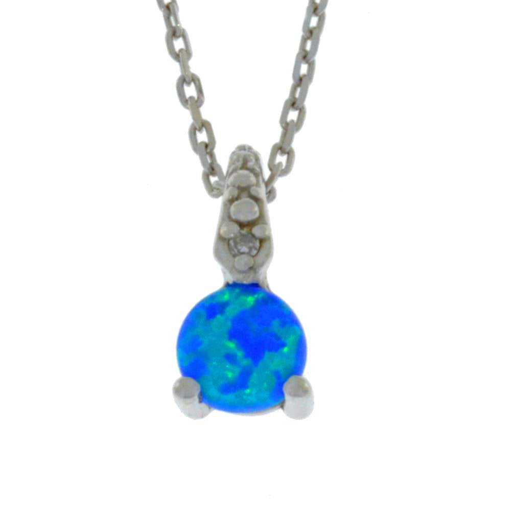 5mm Blue Opal & Diamond Round Pendant .925 Sterling Silver Rhodium Finish