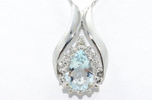 1.5 Ct Genuine Aquamarine Pear Shape Diamond Pendant .925 Sterling Silver Rhodium Finish