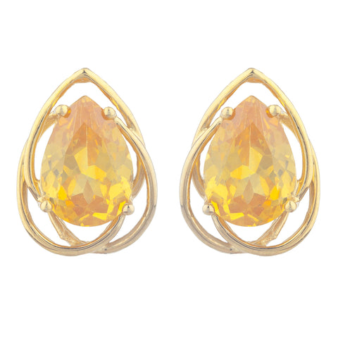 14Kt Gold 4 Ct Yellow Citrine Pear Teardrop Design Stud Earrings
