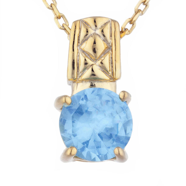 14Kt Yellow Gold Plated Blue Topaz Round Design Pendant
