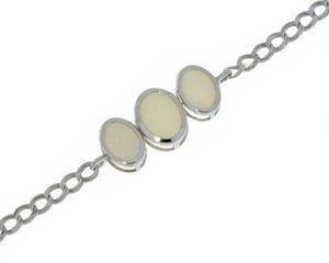 Genuine Opal Oval Bezel Bracelet .925 Sterling Silver Rhodium Finish