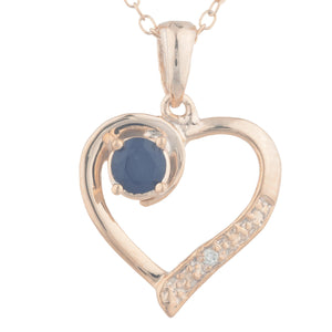 14Kt Rose Gold Plated Genuine Black Onyx & Diamond Heart Pendant