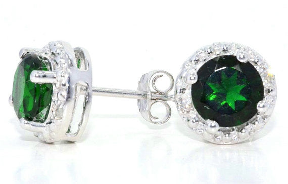 2 Ct Emerald & Diamond Round Stud Earrings 14Kt White Gold