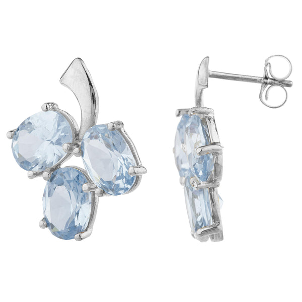 9 Ct Genuine Aquamarine Oval Design Stud Earrings .925 Sterling Silver