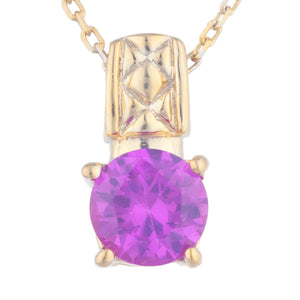 14Kt Yellow Gold Plated Pink Sapphire Round Design Pendant