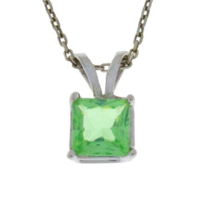 1 Ct Green Sapphire Princess Cut Pendant .925 Sterling Silver Rhodium Finish