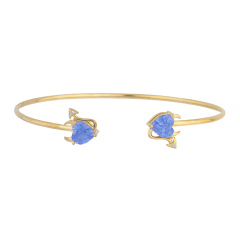 Tanzanite & Diamond Devil Heart Bangle Bracelet 14Kt Yellow Gold Rose Gold Silver