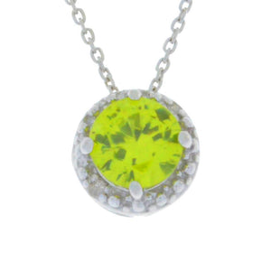 1 Ct Peridot & Diamond Round Pendant .925 Sterling Silver Rhodium Finish