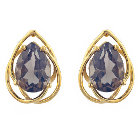 14Kt Gold 4 Ct Genuine Smoky Topaz Pear Teardrop Design Stud Earrings