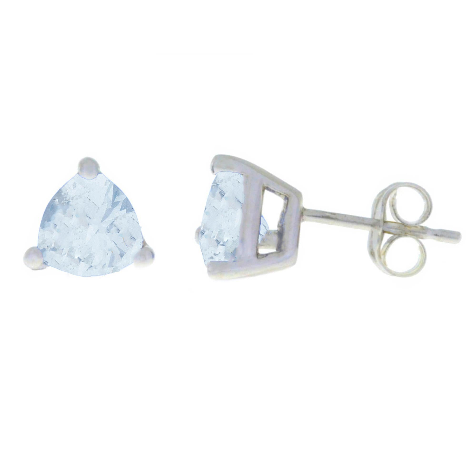 2 Ct Genuine Aquamarine Trillion Stud Earrings .925 Sterling Silver