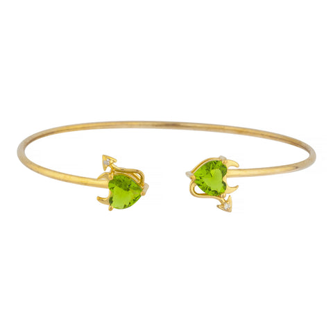 Peridot & Diamond Devil Heart Bangle Bracelet 14Kt Yellow Gold Rose Gold Silver