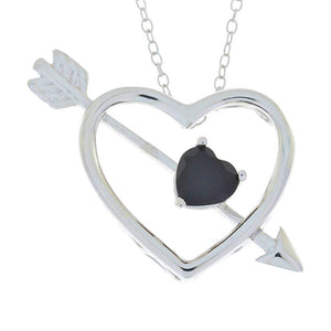 Genuine Black Onyx Heart Bow & Arrow Pendant .925 Sterling Silver Rhodium Finish
