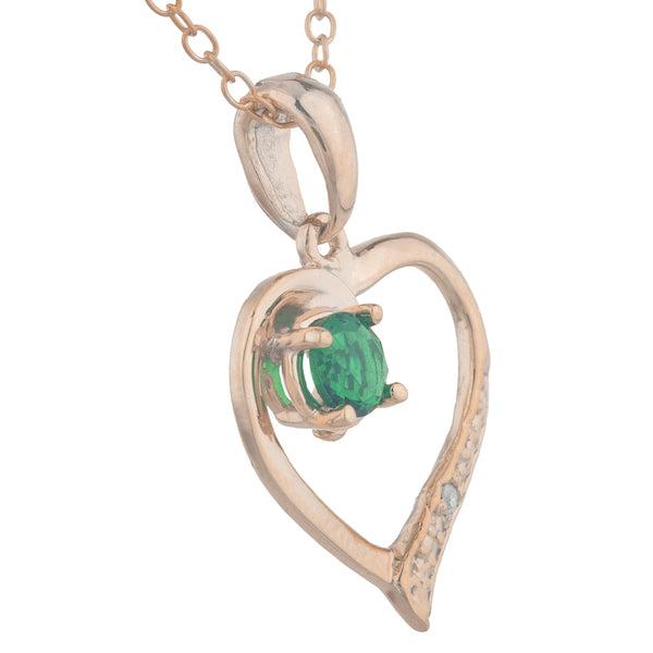 14Kt Rose Gold Plated Emerald & Diamond Heart Pendant