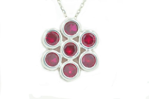 2 Ct Created Ruby Round Bezel Pendant .925 Sterling Silver Rhodium Finish
