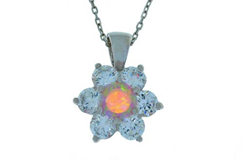 Pink Opal & White Topaz Pendant .925 Sterling Silver Rhodium Finish