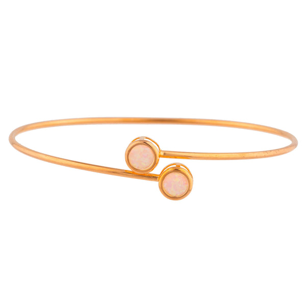 14Kt Rose Gold Plated Pink Opal Round Bezel Bangle Bracelet