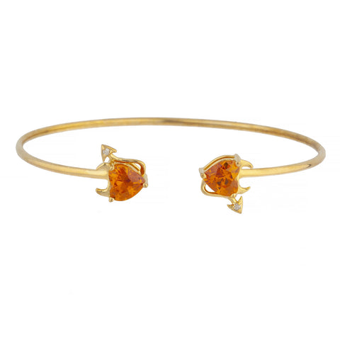 Orange Citrine & Diamond Devil Heart Bangle Bracelet 14Kt Yellow Gold Rose Gold Silver