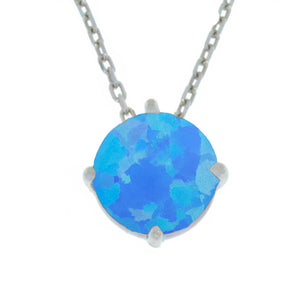 14Kt Gold Blue Opal Round Pendant Necklace