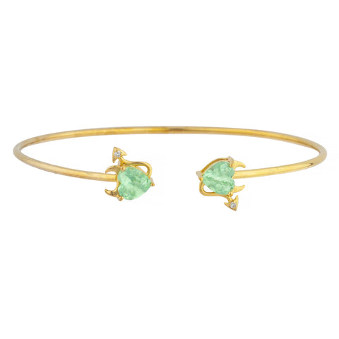 Green Sapphire & Diamond Devil Heart Bangle Bracelet 14Kt Yellow Gold Rose Gold Silver
