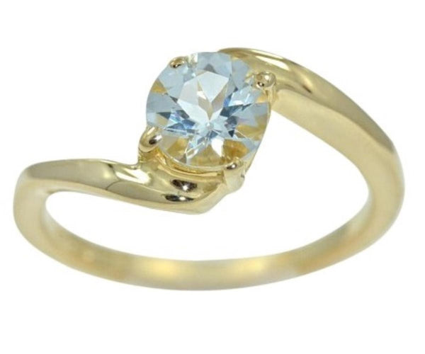 Genuine Aquamarine Round Ring 14Kt Yellow Gold Plated Over .925 Sterling Silver