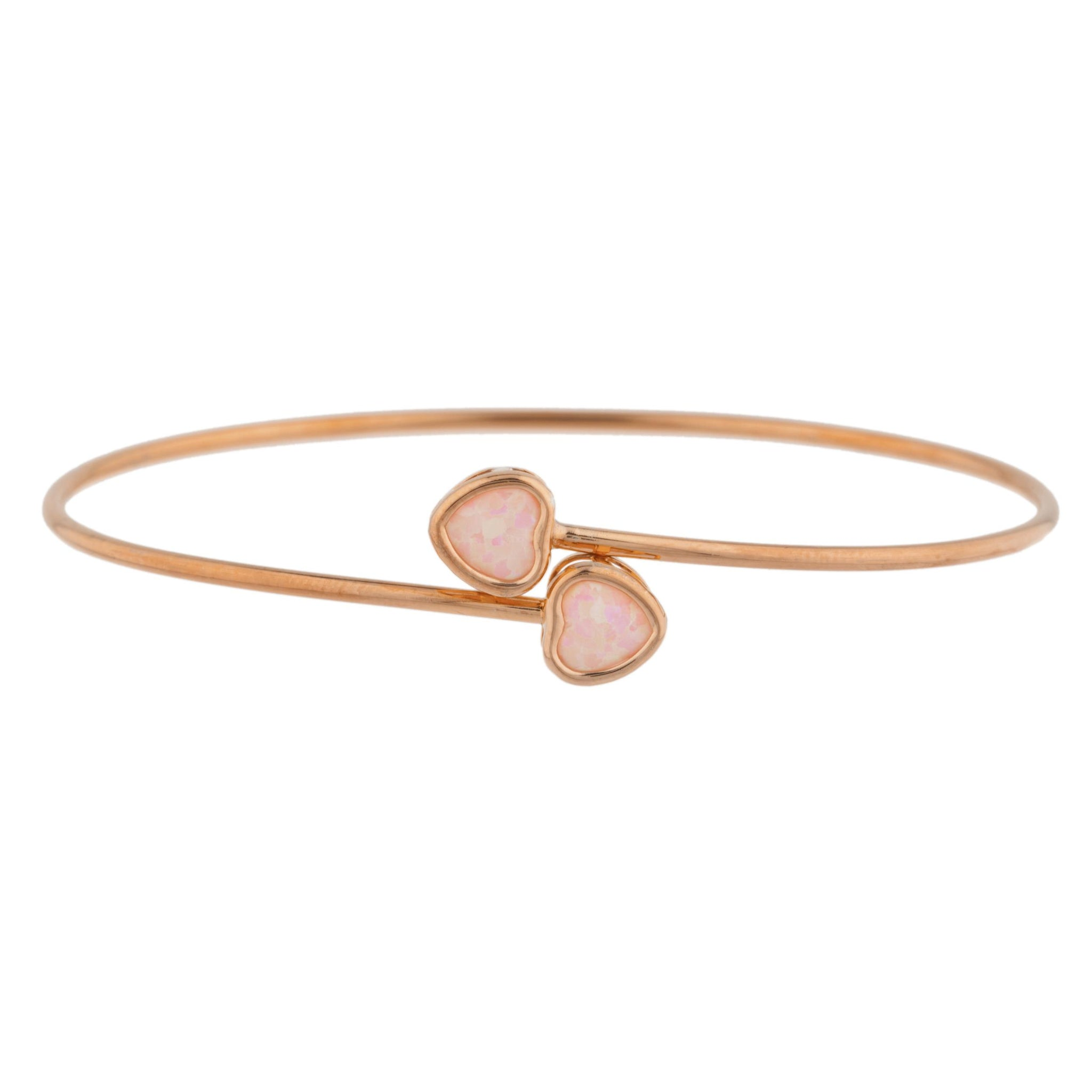 14Kt Rose Gold Plated Pink Opal Heart Bezel Bangle Bracelet