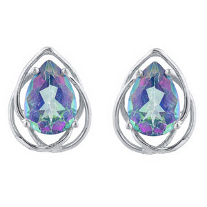 4 Ct Natural Mystic Topaz Pear Teardrop Design Stud Earrings .925 Sterling Silver