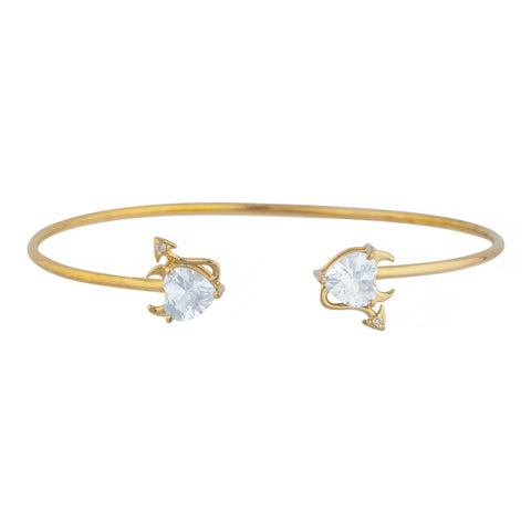 White Sapphire & Diamond Devil Heart Bangle Bracelet 14Kt Yellow Gold Rose Gold Silver