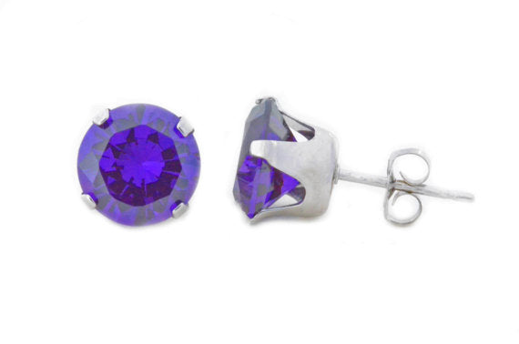 14Kt White Gold Amethyst Round Stud Earrings