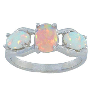 Pink Opal & White Opal Oval Ring .925 Sterling Silver