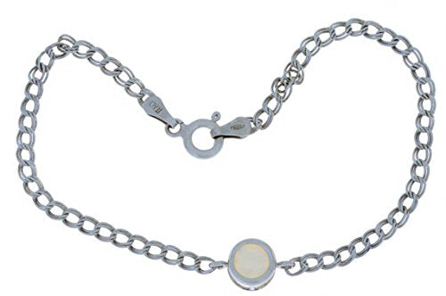 Natural Opal Round Bezel Bracelet .925 Sterling Silver Rhodium Finish