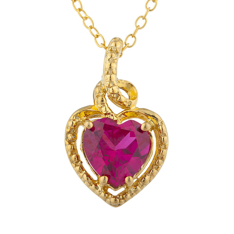 14Kt Gold Created Ruby Heart Design Pendant Necklace