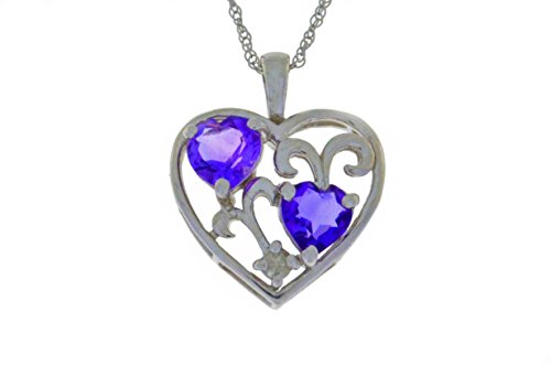 1 Ct Amethyst Double Heart Pendant .925 Sterling Silver Rhodium Finish