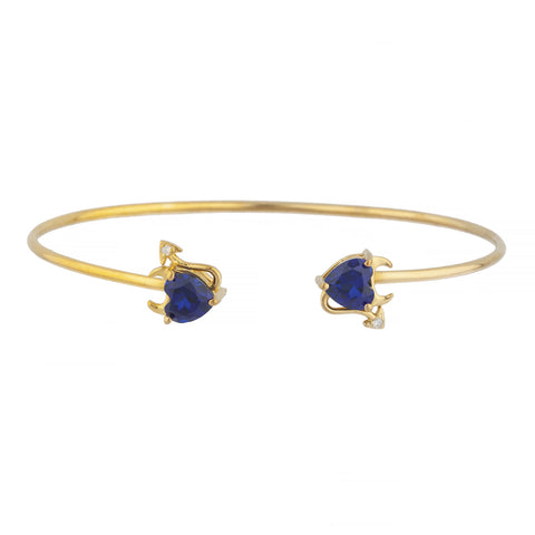 Blue Sapphire & Diamond Devil Heart Bangle Bracelet 14Kt Yellow Gold Rose Gold Silver