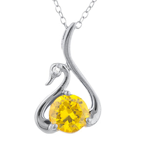 Yellow Citrine & Diamond Swan Pendant .925 Sterling Silver