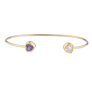14Kt Gold Aquamarine & Amethyst Heart Bezel Bangle Bracelet