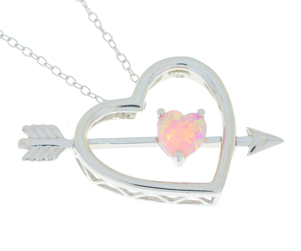 Pink Opal Heart Bow & Arrow Pendant .925 Sterling Silver Rhodium Finish