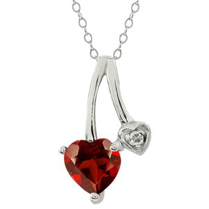 1 Ct Garnet Heart & Diamond Pendant .925 Sterling Silver Rhodium Finish