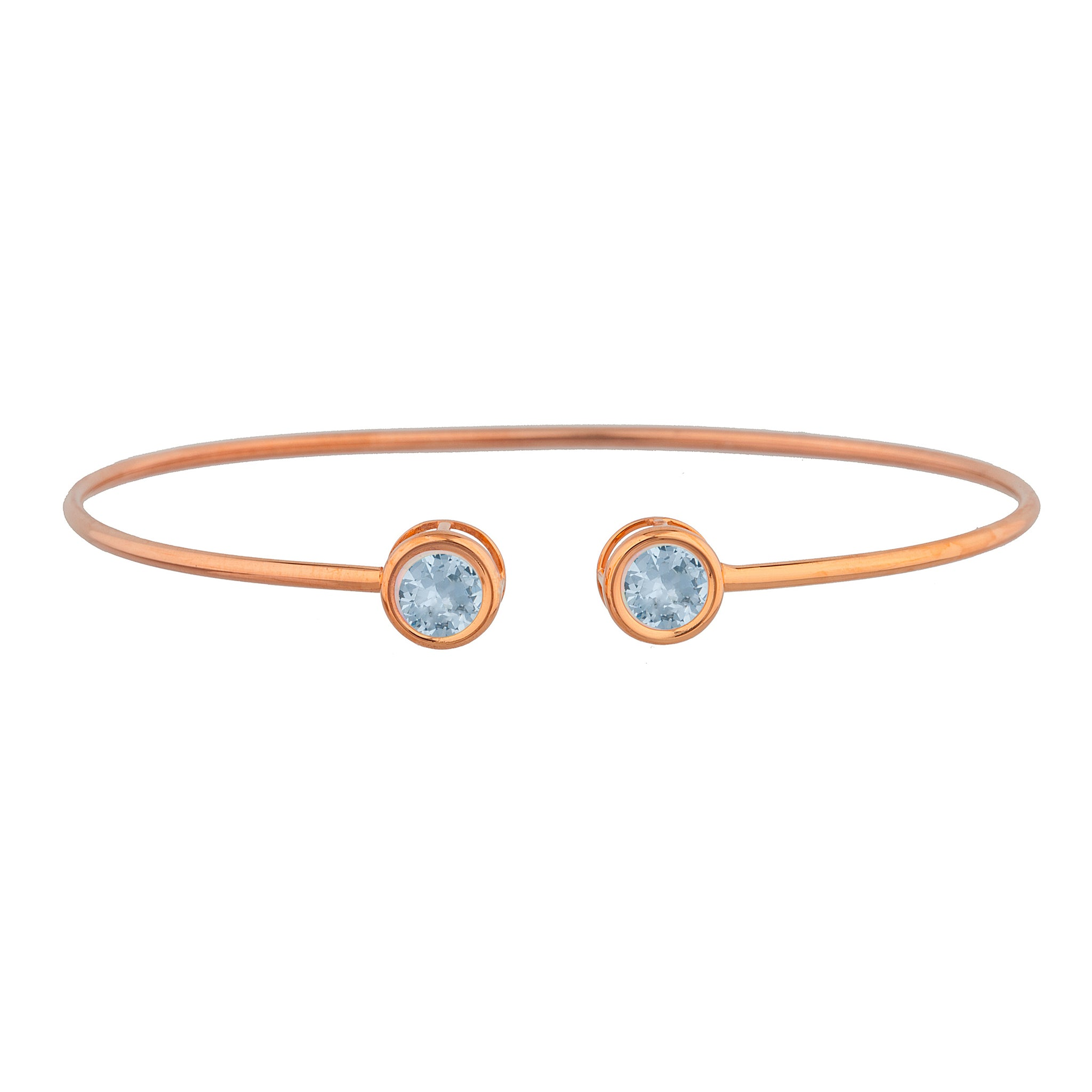 14Kt Rose Gold Plated Genuine Aquamarine Round Bezel Bangle Bracelet