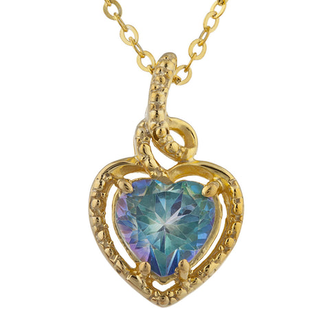 14Kt Gold Natural Blue Mystic Topaz Heart Design Pendant Necklace