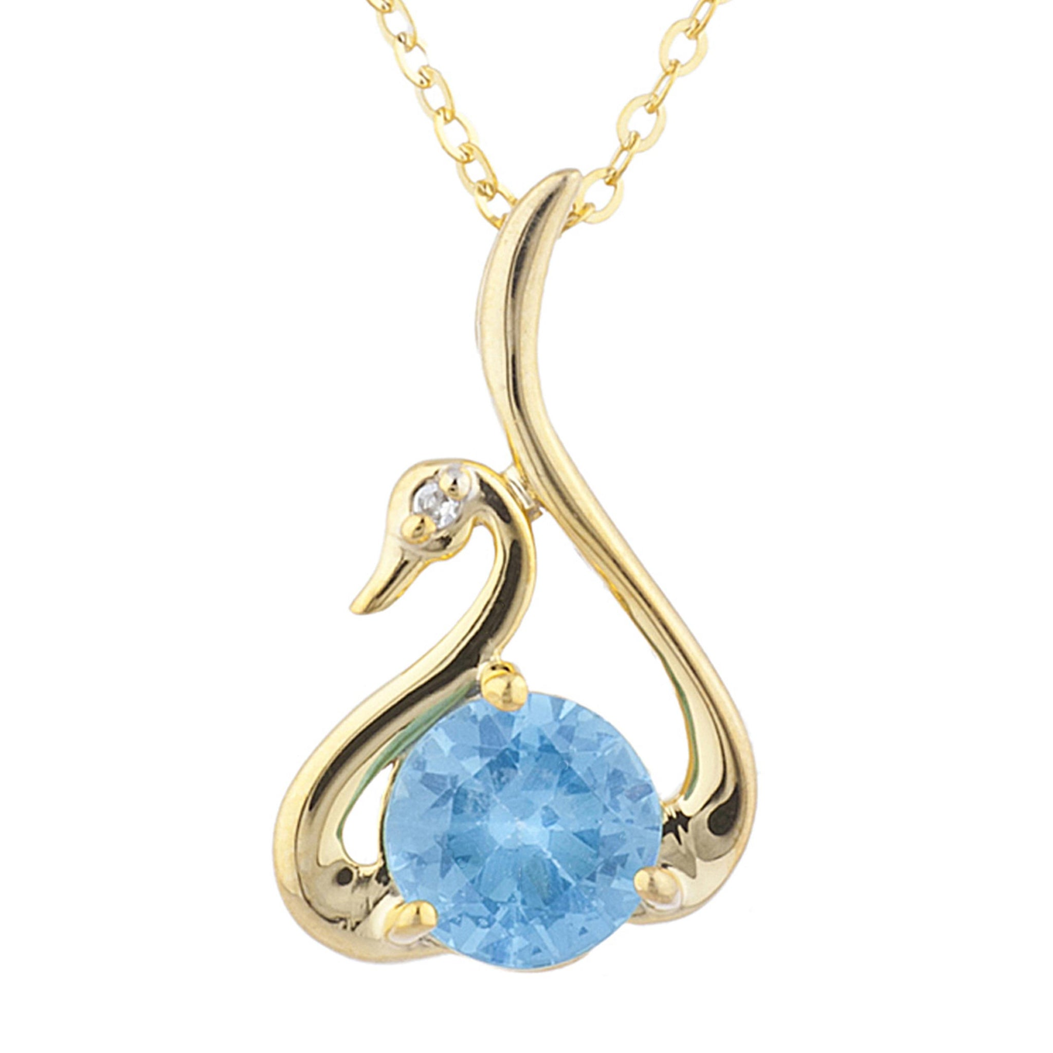 14Kt Yellow Gold Plated Blue Topaz & Diamond Swan Pendant