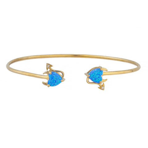 Blue Opal & Diamond Devil Heart Bangle Bracelet 14Kt Yellow Gold Rose Gold Silver