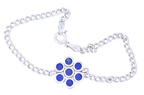 1.75 Ct Blue Sapphire Bezel Bracelet .925 Sterling Silver Rhodium Finish