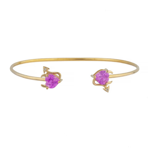 Pink Sapphire & Diamond Devil Heart Bangle Bracelet 14Kt Yellow Gold Rose Gold Silver