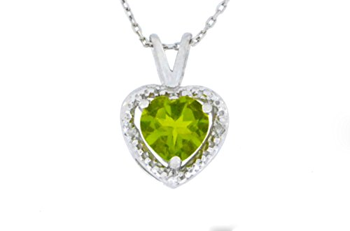 1 Ct Peridot & Diamond Heart Pendant .925 Sterling Silver Rhodium Finish