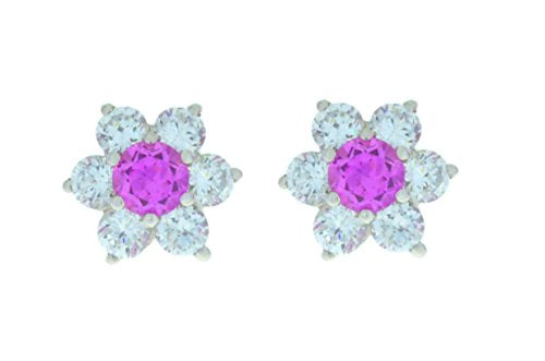 3 Ct Pink Sapphire & White Topaz Stud Earrings .925 Sterling Silver