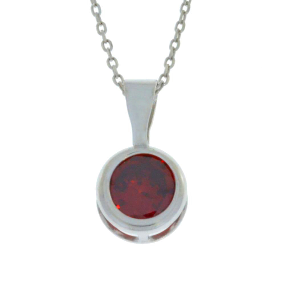 1 Ct Garnet Round Bezel Pendant .925 Sterling Silver Rhodium Finish