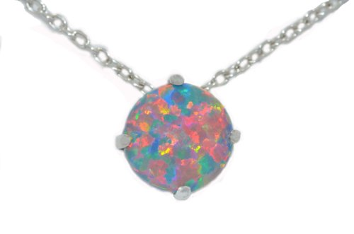 8mm Black Opal Round Pendant .925 Sterling Silver Rhodium Finish
