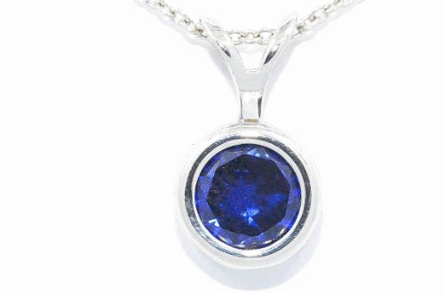 1 Carat Created Blue Sapphire Round Bezel Pendant .925 Sterling Silver Rhodium Finish