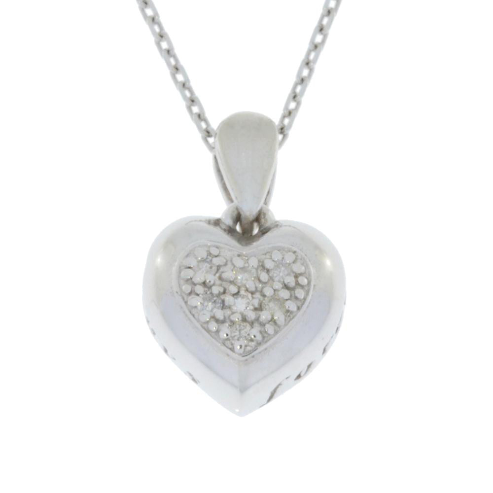Natural Diamond Heart Engraved 'Always' & 'Forever' Pendant .925 Sterling Silver
